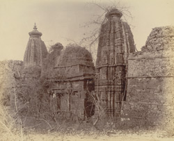 General view of old Jain temple from outside the temple enclosure, Pathari, Bhopal State